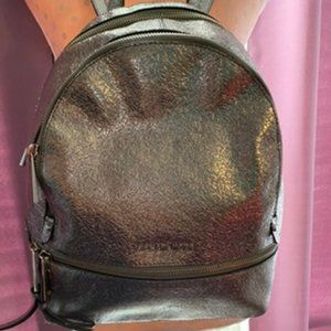 Michael Kors Rhea Metallic Silver Medium Backpack